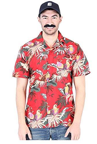 Magnum PI P.I. rot Hawaiian Aloha Jungle Bird Cotton Button-Down Kostüm Shirt, X-Large
