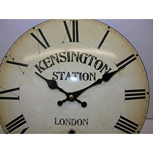 Gebogen shabby chic wandklok Kensington metaal 33cm stationsklok nostalgie antiek