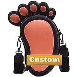 NANSHAN✅ Personalized Custom Name Canvas Bag Women Purse Shoulder Strap Small Canvas Crossbody (Color : Orange, Size : One Size)