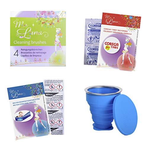 お得な月経カップ用お掃除セット(空気穴ブラシ4個入り、洗浄カップ、ミルトン10個入り、コレガ8個入り)