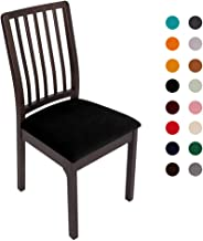 Soft Velvet Stretch Fitted Dining Chair Seat Covers, Removable Washable Anti-Dust Dining Room Upholstered Chair Seat Cushion Cover Kitchen Chair Protector Slipcovers with Ties - Set of 4, Black