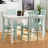 Walker Edison Modern Color Dining Room Table and Chair Set Small Space Living Kitchen Table Set Dining Chairs Set, 48 Inch, 4 Person, White and Sage Green