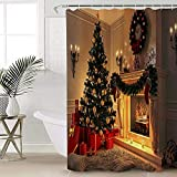 ABRAN Cortinas de Ducha de Chimenea de Navidad con Ganchos Baño de Vacaciones Árbol de Navidad Tela Decorativa Conjunto de Cortinas de Ducha Poliéster Impermeable