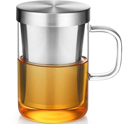 ecooe Bicchiere in vetro con filtro e coperchio in acciaio inossidabile Bicchiere da tè Tazza da tè in borosilicato 500 ml (piena capacità)