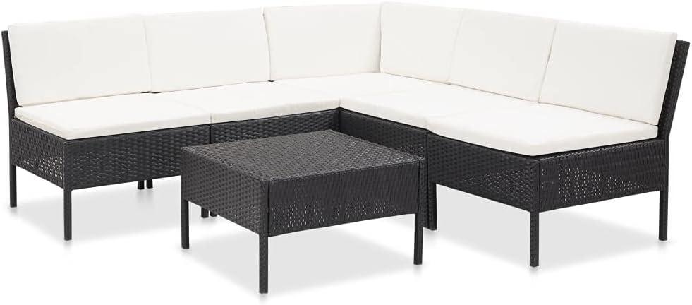 vidaXL Set Muebles de Jardín 6 Piezas Cojines Patio Terraza Conjunto Casa Exterior Comedor Aire Libre Mesa Silla Asientos Ratán Sintético Negro