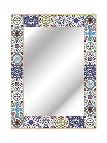 CustomGlass Espejo Rectangular de Pared Modelo Mohlin de 80 x 60 cm con decoración Personalizado Estilo Retro rústico clásico Moderno para baño vestidor tocador habitación DIY Luces Dorado Plateado