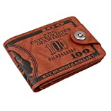 HENGSONG Men US Dollar Bill Wallet PU Leather Credit Card Photo Holder Bifold Billfold With Buttons (Brown)