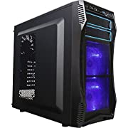 ROSEWILL ATX Mid Tower Gaming Computer Case with Blue LED for Desktop / PC and 3 Case Fans, Front I/O Access Ports