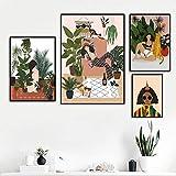 MJKLU Dinosaur World Primitive4 Moda Abstracta Chica Fresca Belleza Planta Verde murales Arte Simple Lienzo Cartel nórdico decoración del Dormitorio del hogar 4 Piezas