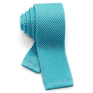 [ダブリューアンドエム] ニットタイ ナロータイ ニット ネクタイ 洗濯 可能 無地 ソリッド アクア ブルー 水色