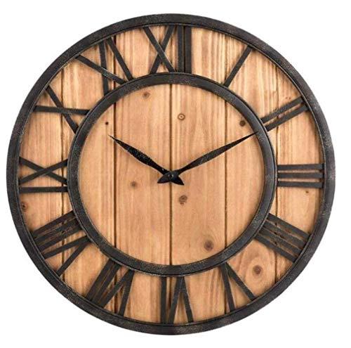 LCSD Reloj de Pared Creativo De Madera Maciza Hecho A Mano Reloj De Pared De Hierro Forjado Retro Antiguo Salón Personalidad Reloj De Cuarzo Reloj De Arte En Casa