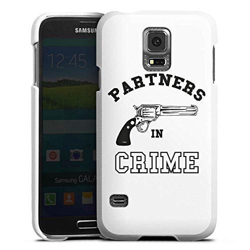 DeinDesign Samsung Galaxy S5 Neo Lederhülle Leder Case Leder Handyhülle Pistole Crime Freundschaft