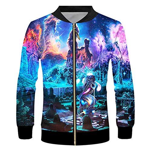 Halaea Unisex Moda Sublimación 3D Chaqueta Streetwear Colorful Starry Sky Chaqueta Ropa Colorful Starry Sky XL