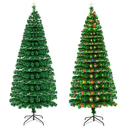 XICA Pre Lit Lights Christmas Tree 7.5ft Fiber Optic Trees with Lights 260 LED Lamps & 260 Branches