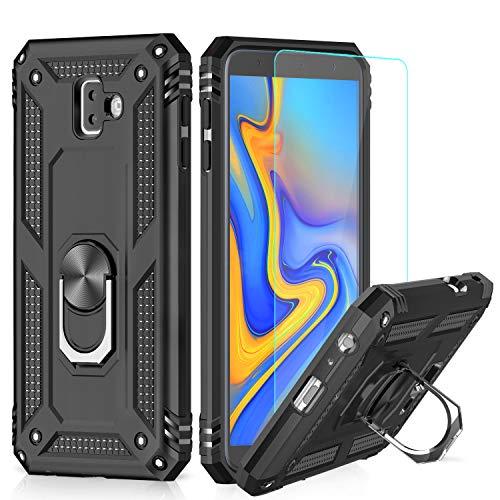 LeYi Funda Samsung Galaxy J6 Plus 2018 Armor Carcasa con 360 Anillo iman Soporte Hard PC y Silicona TPU Bumper antigolpes Fundas Carcasas Case para movil J6 Plus con HD Protector de Pantalla,Negro