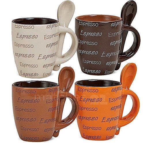 matches21 Espressotassen Tassen Becher 8-tlg. Set Espressodekor creme braun dunkelbraun orange aus Keramik gefertigt, je 7 cm hoch / 50 ml