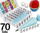 70 Teiliges Premium Spritztüllen Set - 48 Edelstahl Spritztüllen, 2 Silikon Spritzbeutel, 10 Einwegspritzbeutel, 6 Cupcake Formen - zum Backen und Dekorieren von Torten, Cupcakes &...
