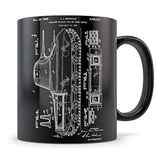 Regalos de tanque para hombres y mujeres - Taza de tanque para entusiastas de la Segunda Guerra Mundial - Mejor idea de regalo temática de la Segunda Guerra Mundial - Patente de invención de tanque bl