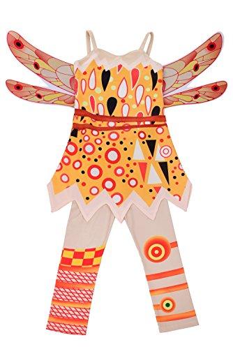 Lito Angels Mia and Me Yuko Kostüm Kleid Kinder Mädchen mit Flügel und Hose Verkleidung Fee Halloween Party Karneval Cosplay Größe Gr. 4-5 Jahre 104 110