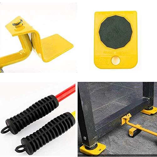 51KTC7J00wL - WeFoonLo 1 juego de muebles elevador Herramienta de elevación y movimiento de muebles para electrodomésticos pesados, 1 barra de elevación y 4 rodillos móviles para muebles (Amarillo)