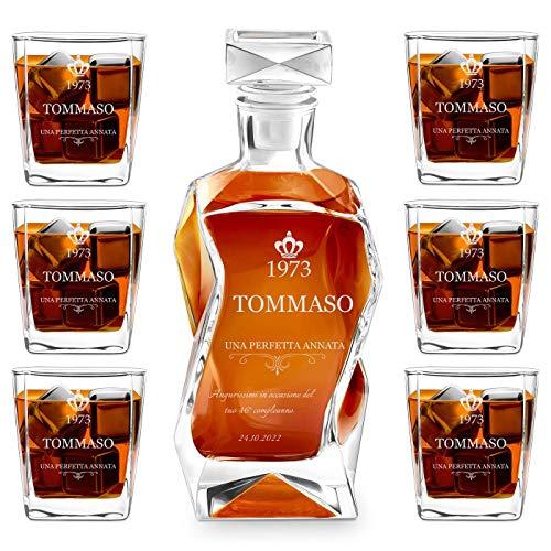 Murrano Set Decanter per Whisky in vetro - da 700 ml - incisione personalizzata - Caraffa con 6 bicchieri - idea regalo per il compleanno - per l' uomo - Un'ottima annata