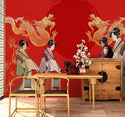 ZHAOCHENBO Wandbild,3D Großes Wandbild Custom Hintergrundbild Handbemalte Japanerinnen Double Dragon Tv Sofa Hintergrund Poster Foto Wand Dekoration