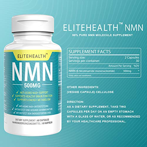 51KTCNM2gTL - One Bottles PUREST NMN for NAD Support | 60 Grain |Each Capsules 250mg | Supplement for Anti-Aging & Energy Metabolism | Vegan Friendly (1 Pack)