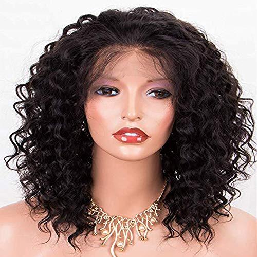 Postizos para mujeres Producto Explosiones Pelucas Mujer Africano Negro Pequeño Cabello rizado Frente Peluca de encaje Set Pelo rizado Peluca