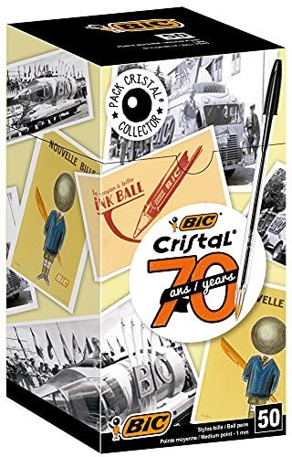 BIC Cristal Original Pennea Sfera Punta Media (1.00 mm), Nere, Confezione da 50, Fornitura per Scrivere in Ufficio e a Casa