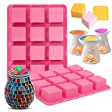 Mity rain Wax Melt Molds Silicone, 2Pcs 12-Cavities Wax Tart Containers Molds Set, Square Cube Tray Molds for Candle Making , Baby Food Chocolate Truffles, Ganache, Jelly, Candy and Praline