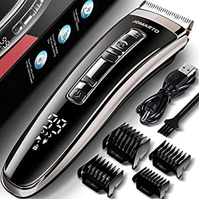 Jomarto Mens Hair Clippers Cordless Hair Trimmer Haircut & Grooming Kit for Men Beard Trimmer Rechargeable LED Display Ultimate Male Hygiene Razor