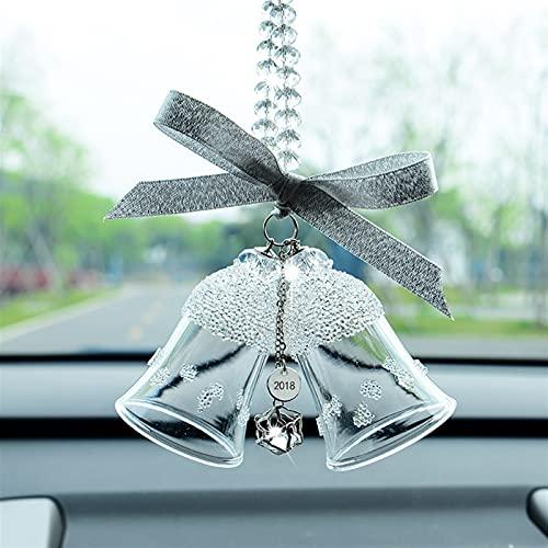 Pendiente de cristal de doble campana, adornos de automóviles Colgante del automóvil de la campana de viento, Coche Creativo Retrovisor Decoración, Accesorios para interiores del automóvil, Peldía de