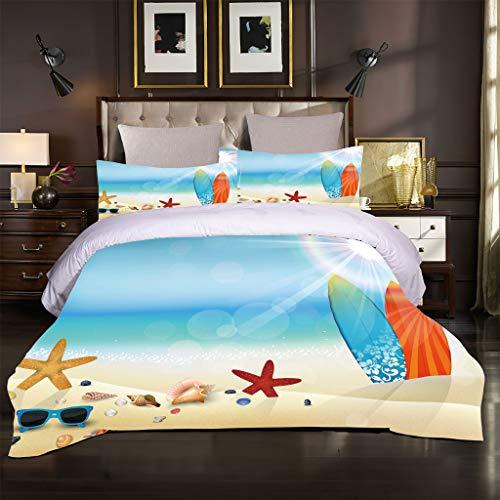 Ocean Seaside Scenery - Juego de ropa de cama (6230 x 260 cm), diseño de olas azules, color azul