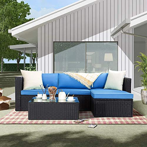 BOSSIN 5 Pieces Patio Furniture Sectional Sets,Outdoor All-Weather PE Rattan Wicker Lawn Conversation Sets,Garden Sofa Set with Coffee Table and Washable Couch Cushions (Navy Blue)