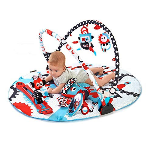 Yookidoo Baby Gym and Play Mat - 3 Stage Accessory Gym with Motorized Robot Track - 20...