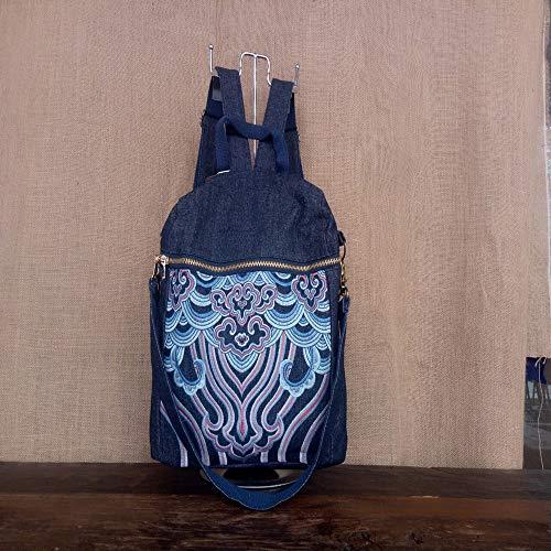 LaLa POP Outdoor Travel Embroidery Denim Backpack/Bag Handbag/Shoulder Bag Multi-purpose Backpack