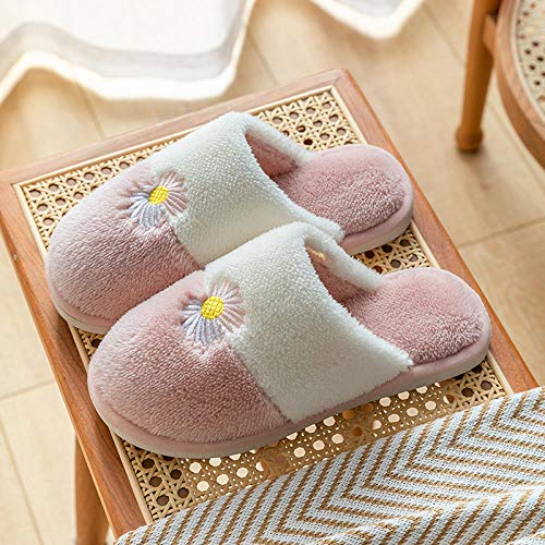 XZDNYDHGX Mujer Invierno Zapatillas de Estar casa Interior,Zapatillas de Invierno para Mujer, Zapatos cálidos de Felpa, par de Zapatillas de algodón Antideslizantes para Interiores Rosa EU 35-36