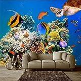 Papel Tapiz Mural 3D Para Sala De Estar, Mundo Submarino, Escuela De Peces De Mar Profundo, Tortuga, Acuario, Papel De Pared De Fondo-150 * 105Cm
