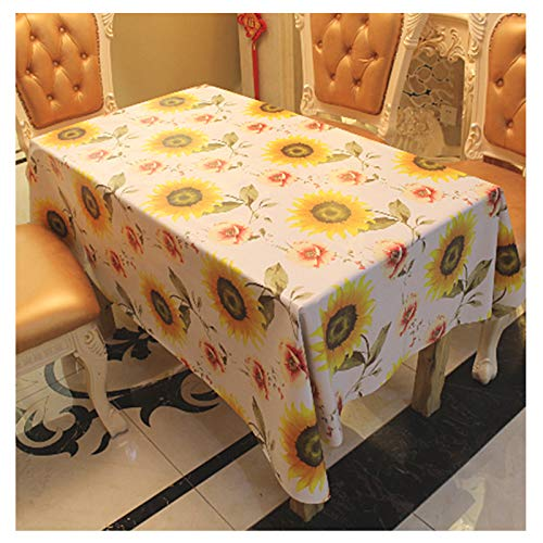 PXIYOU Rustic Sunflowers Spill-Proof Tablecloth for Dinner...