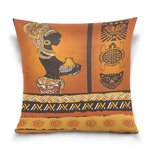 Use7 Kissenbezug, dekorativer Kissenbezug, quadratisch, schöne afrikanische Schwarze Frau, Schildkröte, Vintage-Stil, stilvoller Sofakissenbezug, Doppelseitig, Textil, Multi, 50 x 50cm/20 x 20 Inches