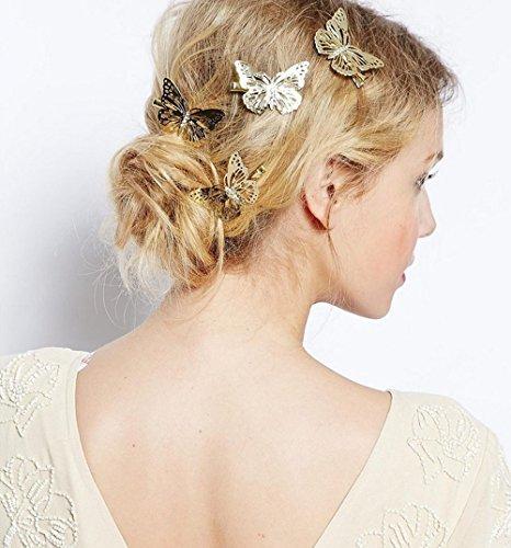 Aukmla Haarklammern und Haarspangen, goldfarben, mit Schmetterlingen, schlichter Kopfschmuck für jeden Tag, 2er-Set