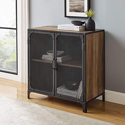 Walker Edison Malcomb Industrial Metal Mesh 2 Door Storage Cabinet , 30 Inch, Rustic Oak