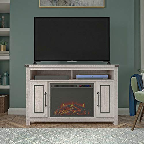 "Broussard TV Stand for TVs up to 48"" with Fireplace Included, Additional Tools Required: Screw Driver; Hammer, Media Storage: Yes"