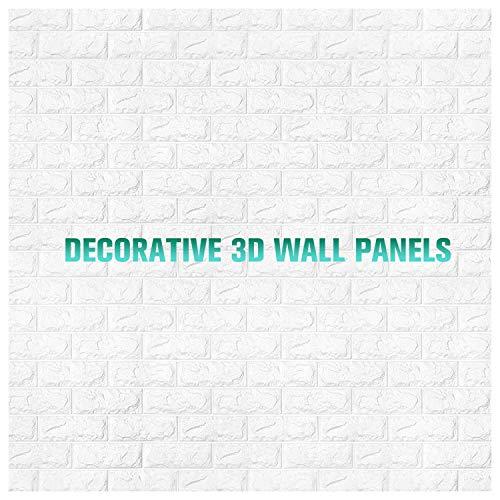 Wandaufkleber 3D, Schaum 3D Wallpaper PE Foam 3D Tapete Selbstklebend Wall Stickers 3D Patterns Wallpaper Mauer Relief Steine DIY Wand Dekor 70x77cm Weiß (Size : 50 Pieces)
