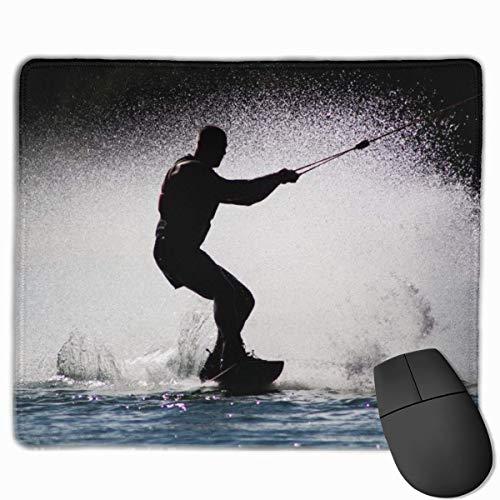 Silhouette Surfboard Wasserski Rechteckiges rutschfestes Gaming-Mauspad Tastatur Gummi-Mauspad für Heim- und Büro-Laptops