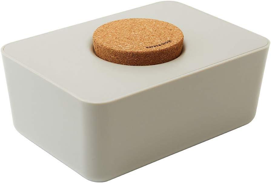 sarasa design, Baby Wipe Dispenser,Baby Wipe Holder, b2c Wet Wipes case with Cork lid (Warm Gray)-About W17cm ×D12cm ×H8cm