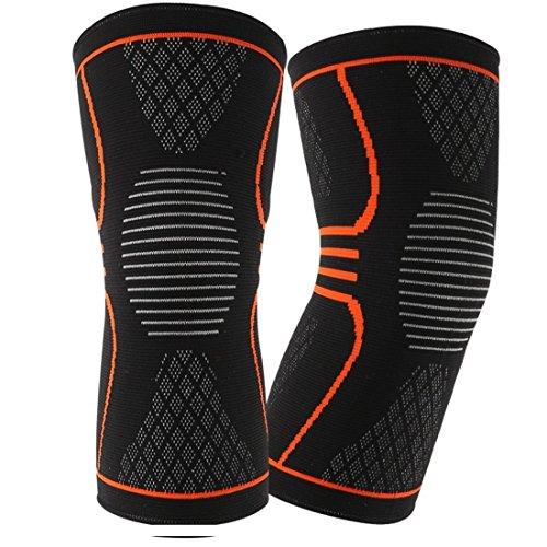 EveShine Genouillère tricotée (1 Paire), Meilleure Compression pour Soutenir Le Genou Conçue avec des Bandes de Gel pour Le Running, Le Sport en général, la Course à Pied, Le Basketball - Large
