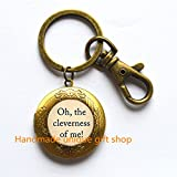 Oh, the cleverness of me Locket Keychain, book Locket Keychain,book jewelry,Quote Locket Keychain,Book Locket Keychain - Book Locket Key ring - Book Quote - Quote Locket Keychain