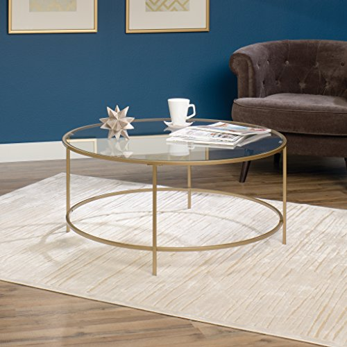 Sauder Lux Round Glass Coffee Table
