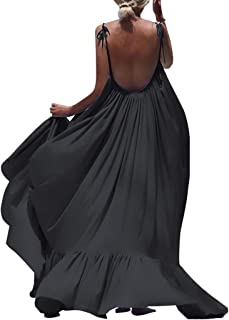 Women Maxi Solid Sleeveless Long Backless Dress Evening Party Beach Dress